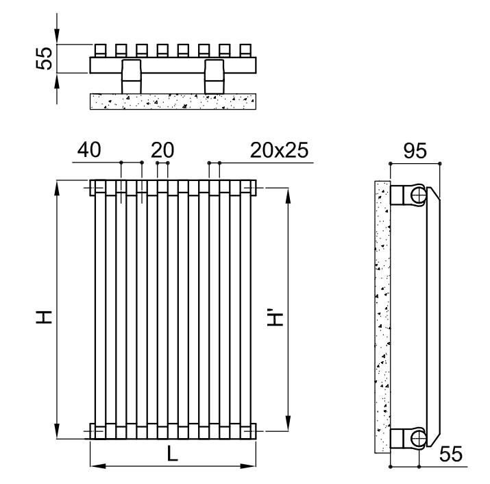 Calorifer vertical Irsap SAX 480x2000