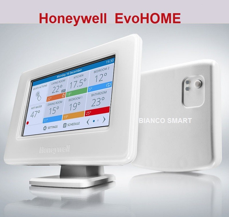 Termostat SMART EvoHOME WiFi cu 12 zone si suport de perete