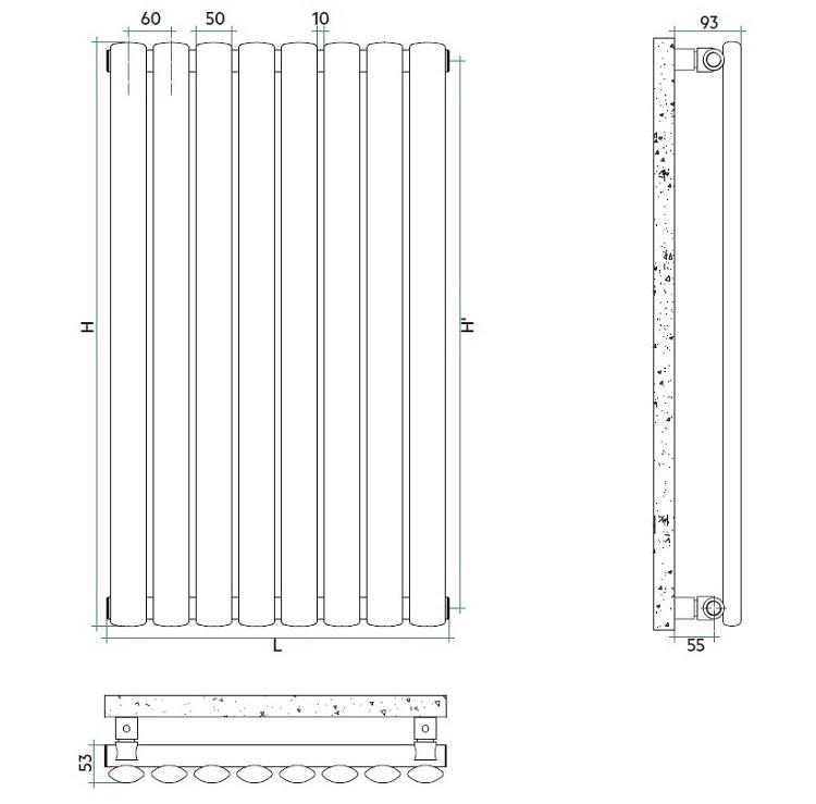 Calorifer vertical Irsap ELLIPSIS V 360 x 2020