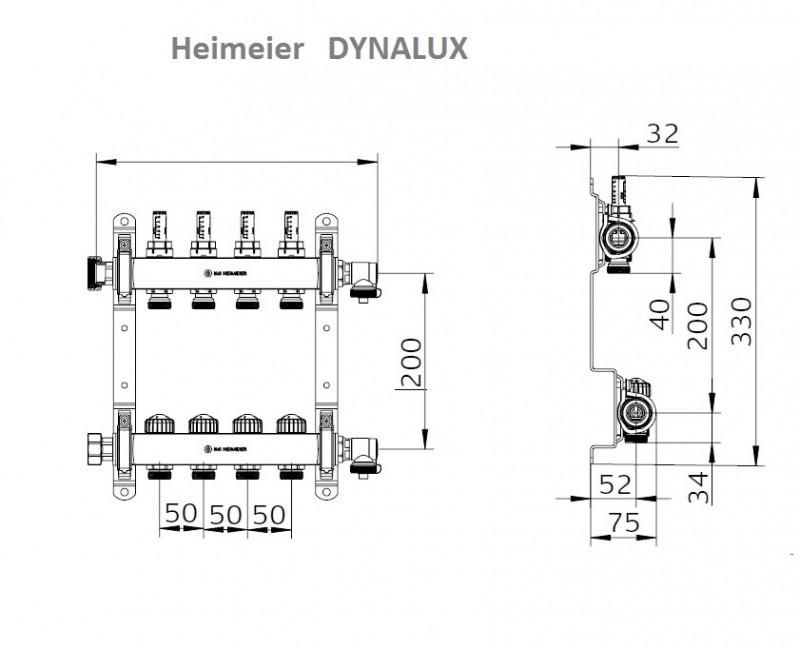 Distribuitor-colector din inox cu debitmetre si ventile termostatice cu 5 circuite Heimeier DYNALUX