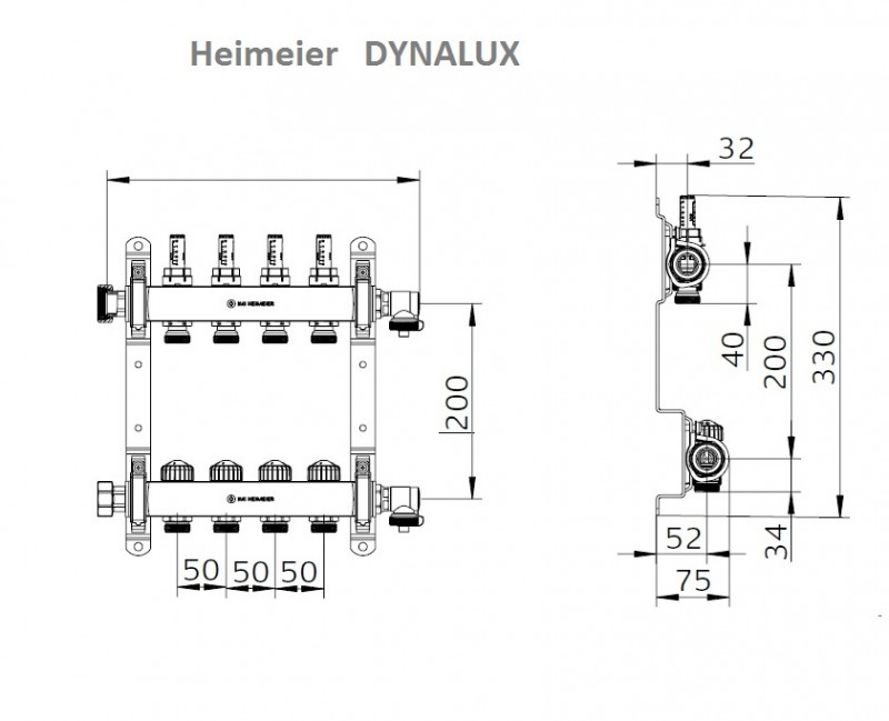 Distribuitor-colector din inox cu debitmetre si ventile termostatice cu 9 circuite Heimeier DYNALUX