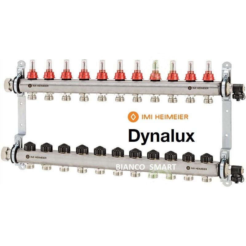 Distribuitor-colector din inox cu debitmetre si ventile termostatice cu 10 circuite Heimeier DYNALUX