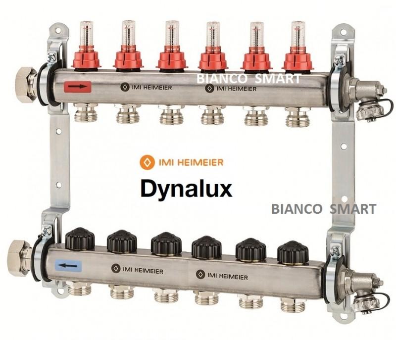 Distribuitor-colector din inox cu debitmetre si ventile termostatice cu 12 circuite Heimeier DYNALUX