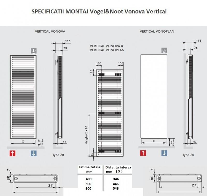 Calorifer vertical Vogel&Noot Vonova K20x2000x600