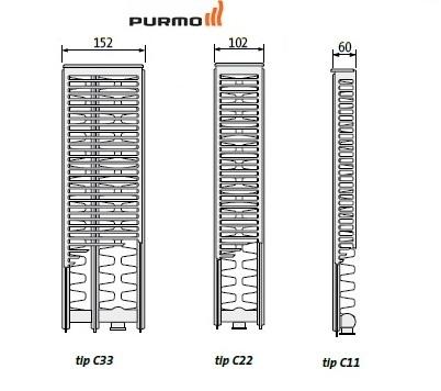 Calorifer cu alimentare inferioara Purmo CV 22-450-1600