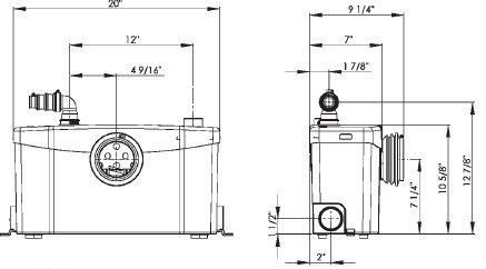 Pompa pentru ape uzate SaniPLUS Silence - WC, lavoar, dus, bideu