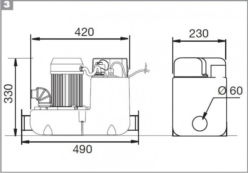Pompa pentru ape uzate SaniCOM 1 - dus, lavoar, bideu, masina de spalat