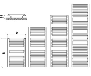 Calorifer din aluminiu pentru baie Fondital Calens 490x800