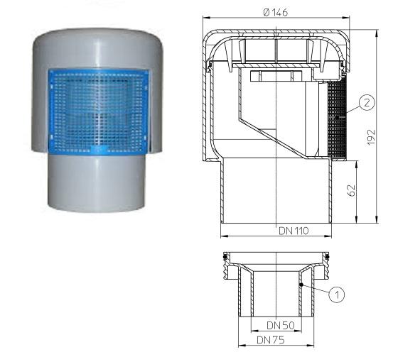 Aerator cu membrana DN50/75/110