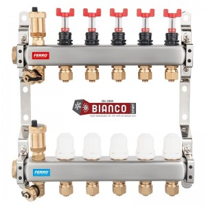 Imagine Distribuitor din inox cu debitmetre, ventile termostatice si racorduri 16 mm cu 4 circuite