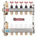 Foto Distribuitor din inox cu debitmetre, ventile termostatice si racorduri 16 mm cu 5 circuite